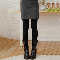 【衣芙日系】俏麗質感厚毛呢假兩件內搭褲(共2色)